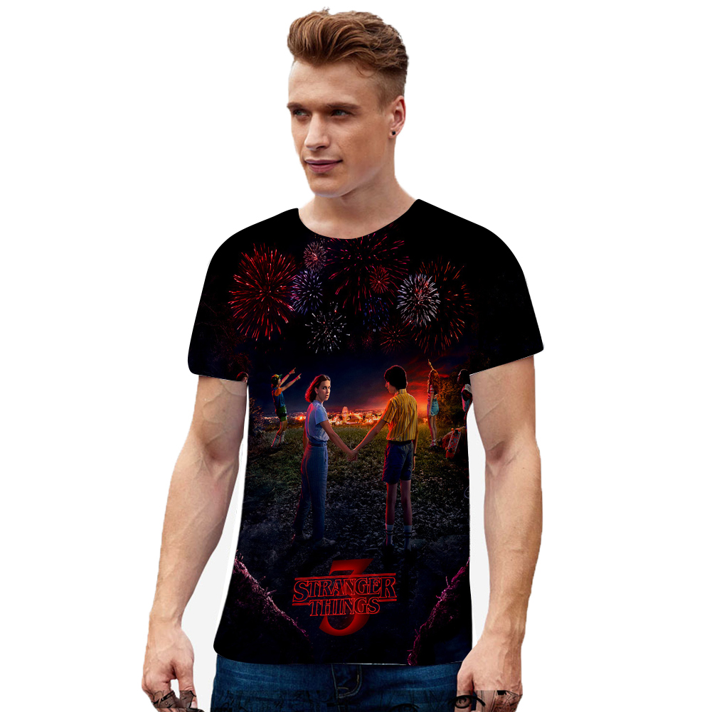 Men Women Stranger Things 3D Color Printing Short Sleeve T Shirt Q-3662-YH01 A_M