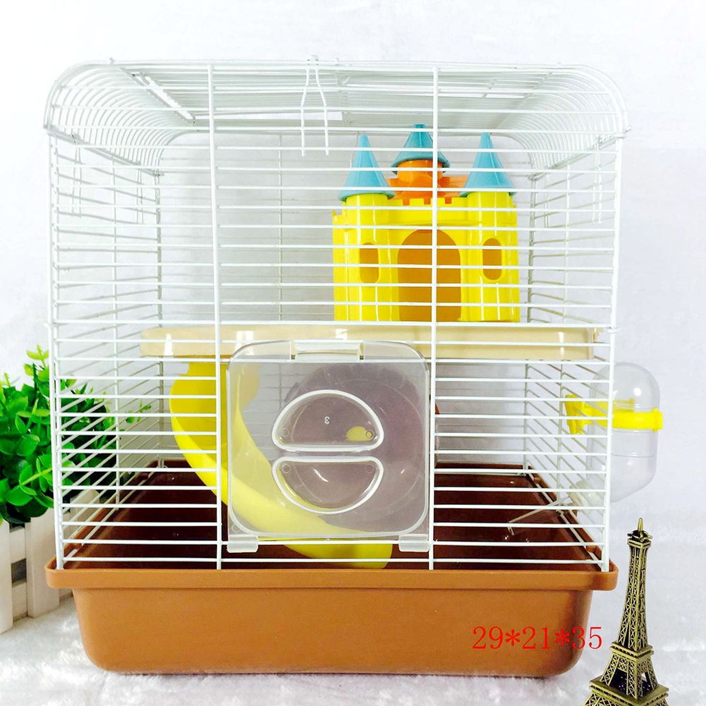 Portable Small Size Pet Cage with Castle Shape Toy for Hamsters Brown_27*21*32