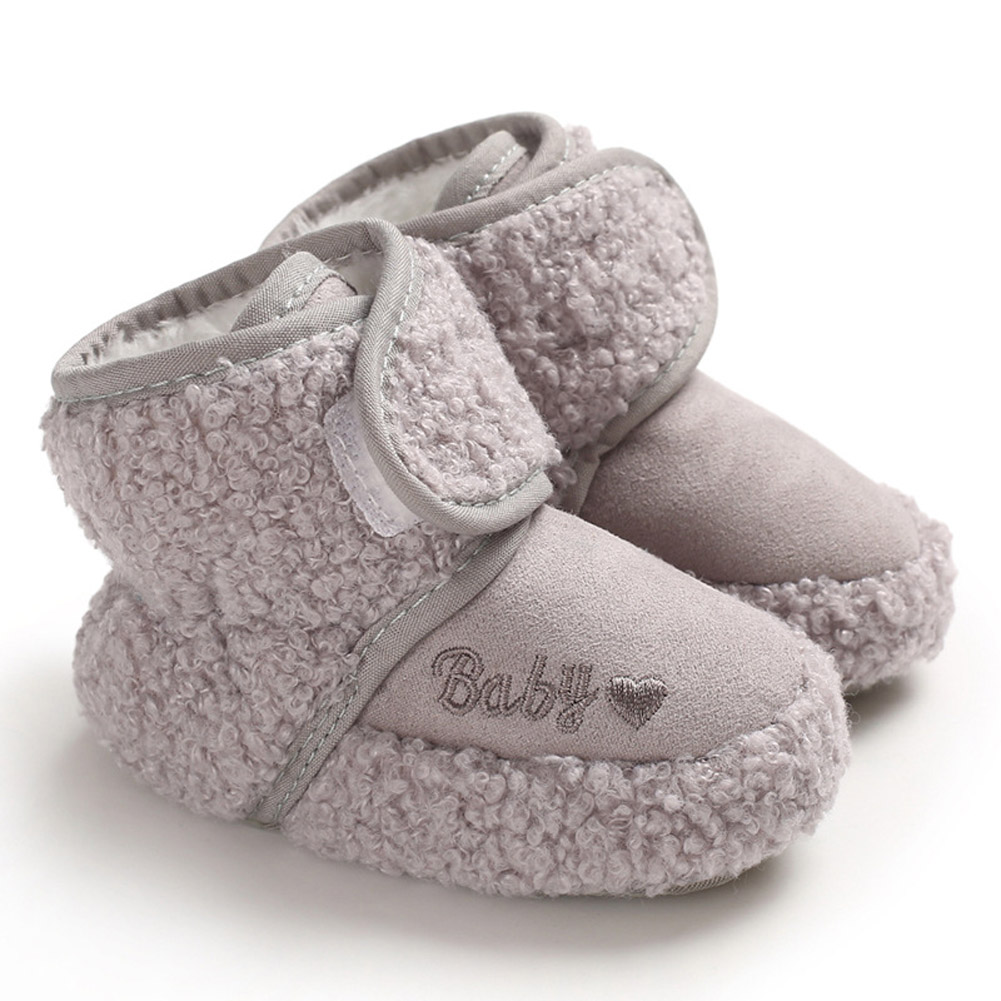 Newborn Plush Snow Boot Warm Soft Sole Non-slip Shoes for Winter Infant Boys Girls gray_Inside length 11 cm