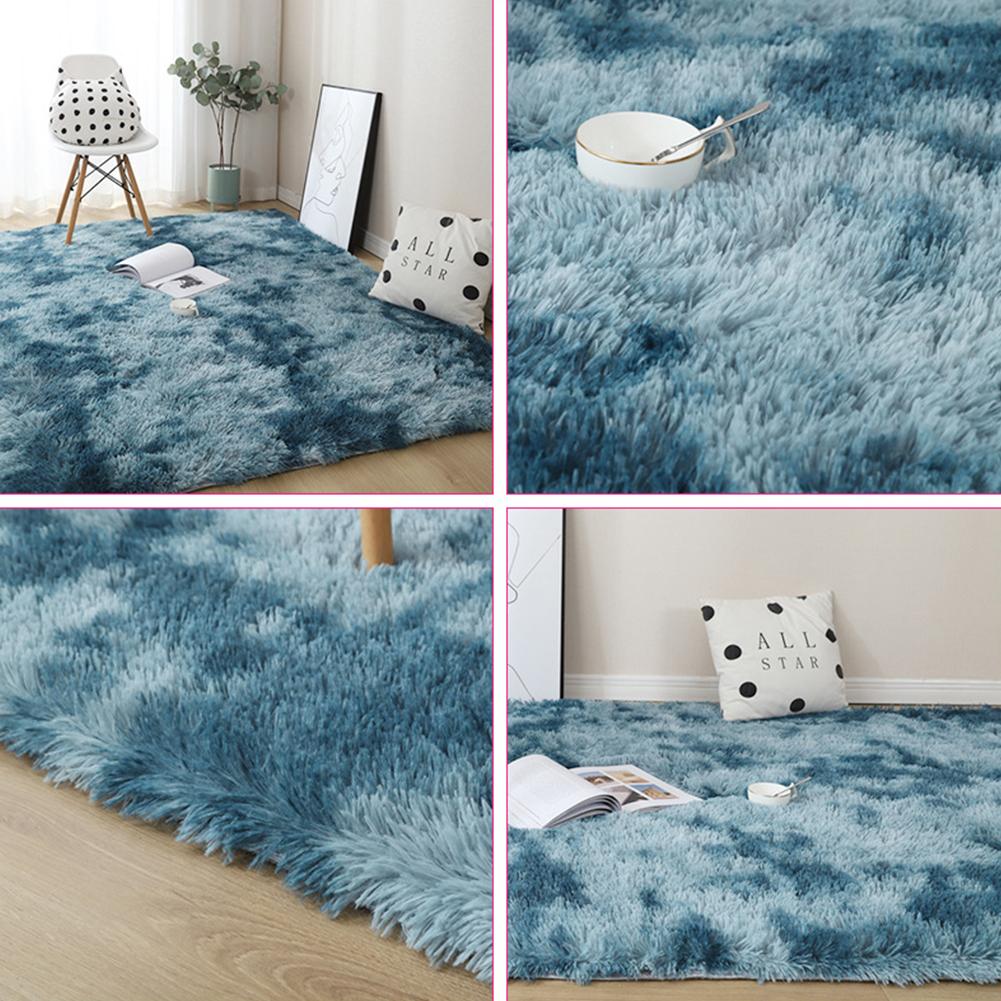 Carpet Tie Dyeing Plush Soft Floor Mat for Living Room Bedroom Anti-slip Rug Navy blue_40x60cm