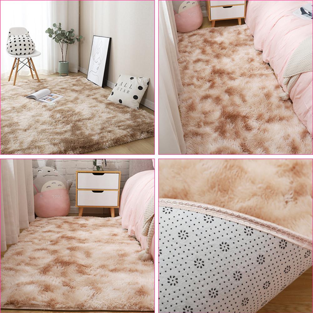 Carpet Tie Dyeing Plush Soft Floor Mat for Living Room Bedroom Anti-slip Rug Khaki_40x60cm