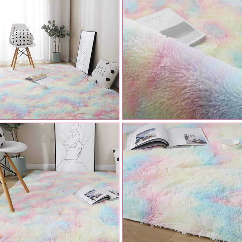 Carpet Tie Dyeing Plush Soft Floor Mat for Living Room Bedroom Anti-slip Rug Rainbow colors_40x60cm