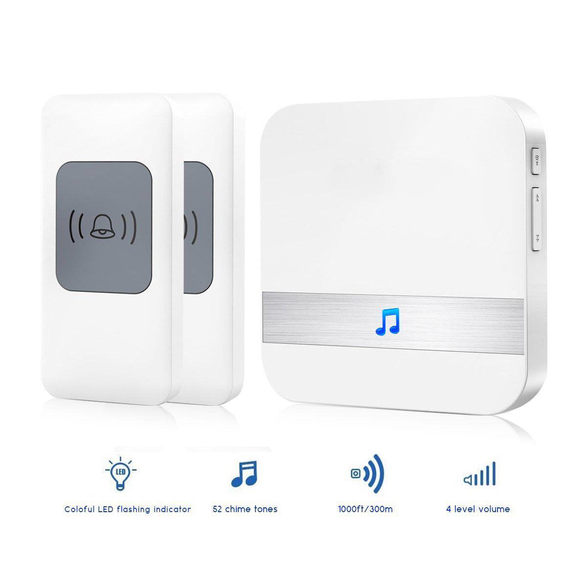 300M Waterproof Electronic Smart Home Wireless Doorbell 52 Songs Chime Door Bell European plug 1 * receiver+2 * button