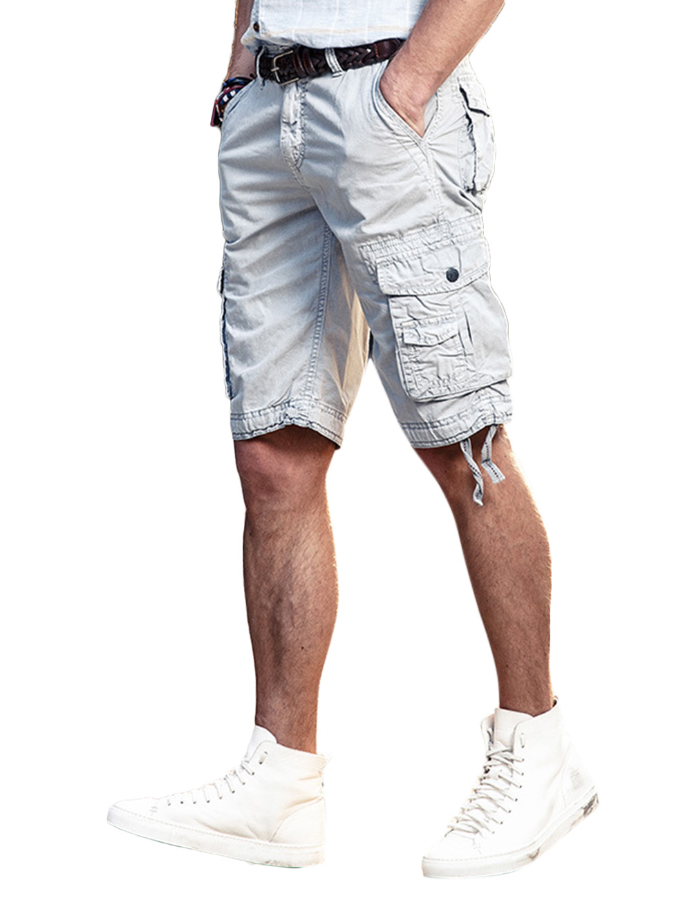 Men's Europe and America Casual Short Overalls Pure Cotton Straight Half Pant