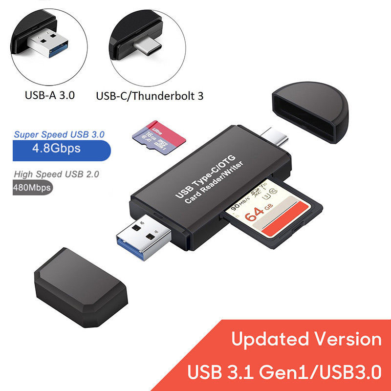 3 in 1 USB 3.0 Type C USB C TF SD Card Reader Adapter for Macbook Android black