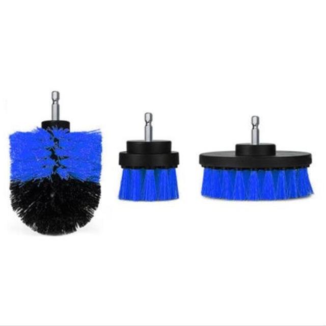 3Pcs/Set Automobile Tire Brush Electric Cleaning Brush Electric Drill Brush Home Cleaning Tool blue