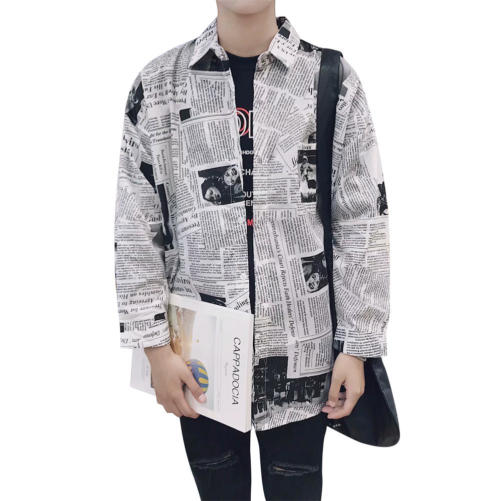 Fashion Spring Summer Long Sleeve Shirt with Newspaper Pattern Design Loose Shirt Newspaper long lining_XL