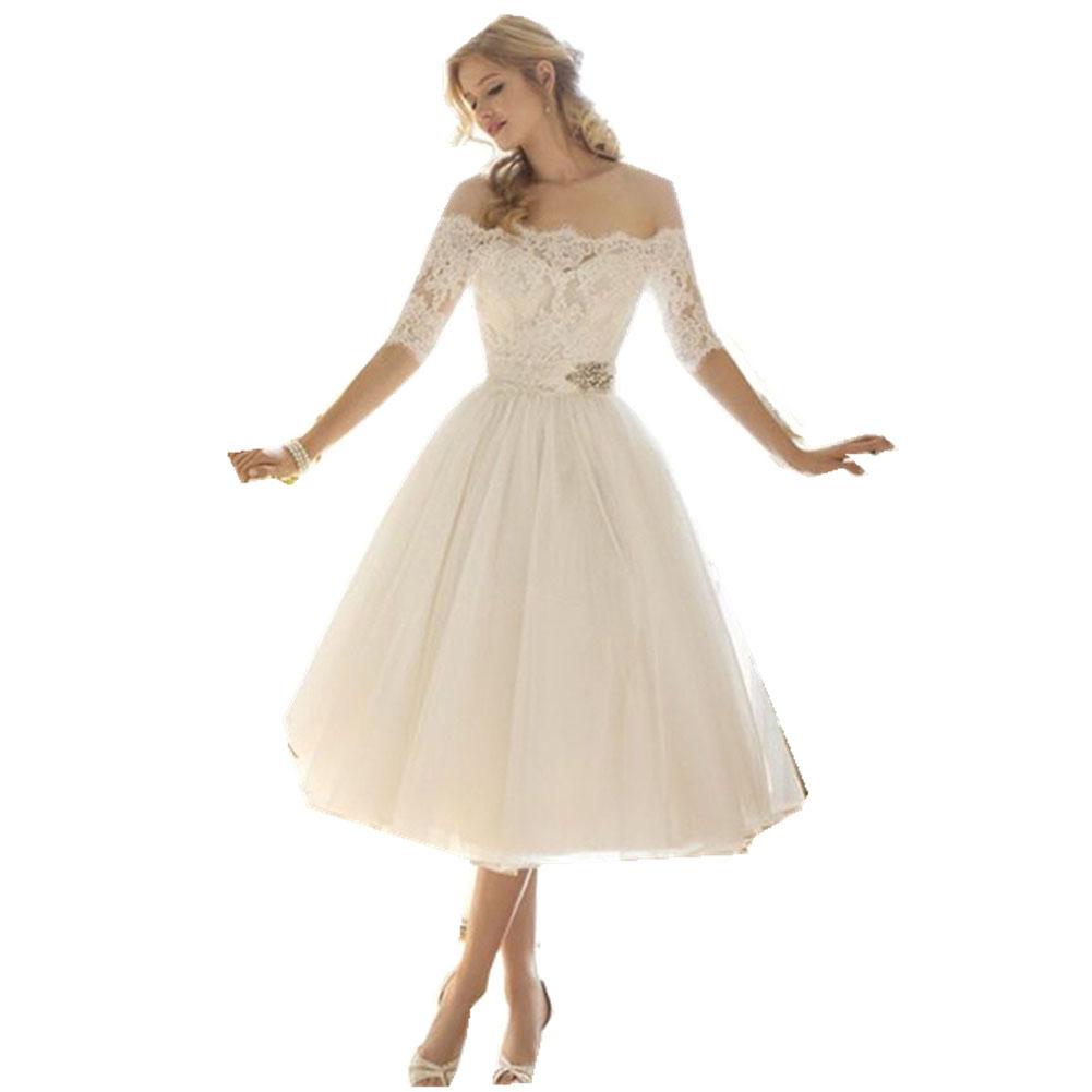 Women Sexy Boat Neck Collar Middle-sleeved Slim Waist Lace Elgant Tutu Dresses white_M