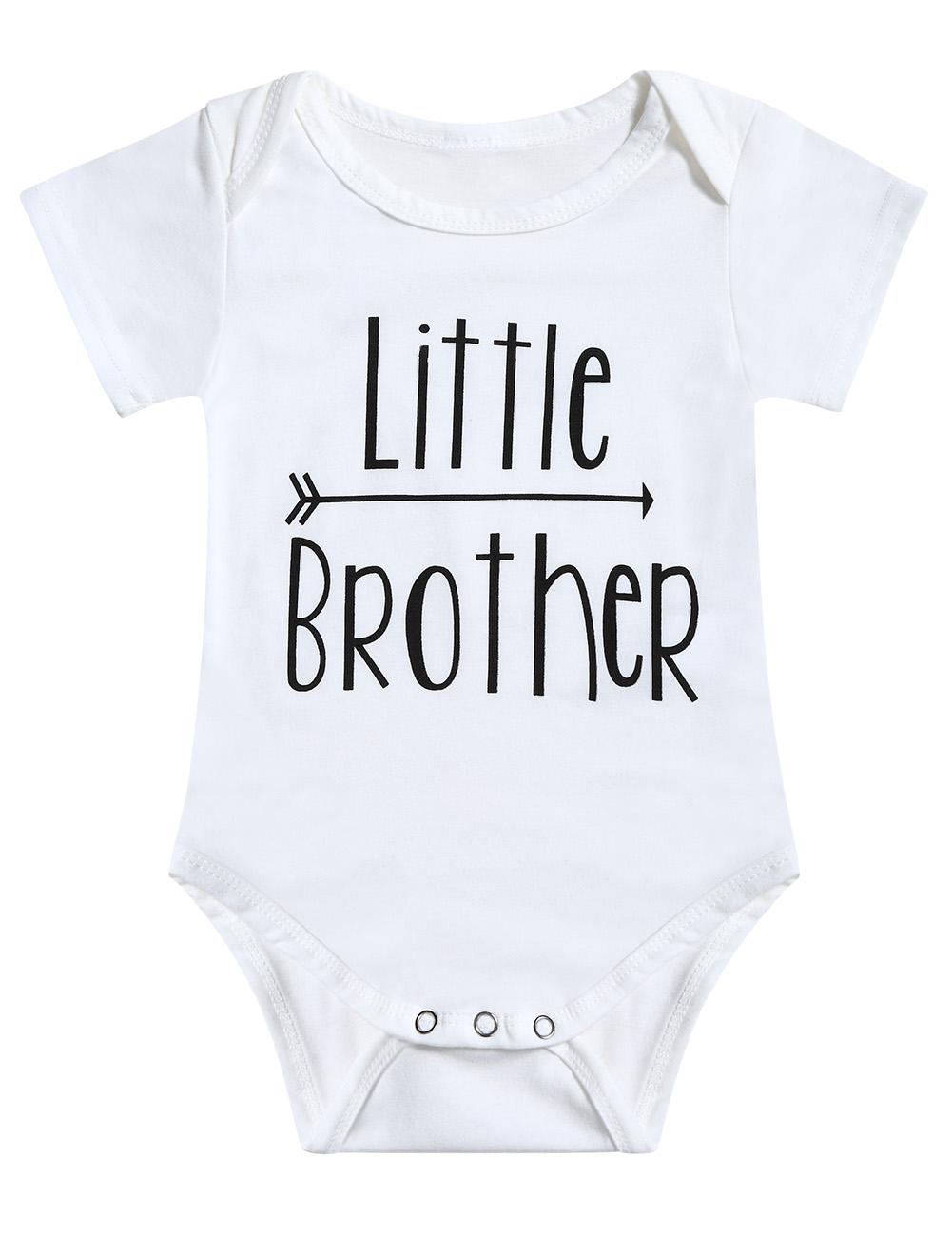 Boys Short Sleeve Round Little Brother&Big Brother Print T-shirt Snap Closure Romper 2pcs Cloth Set