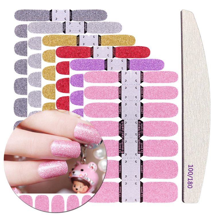 6 Colors Nail Stickers + Nail File Glitter Full Wrap Adhesive Decals DIY Nail Art Decoration