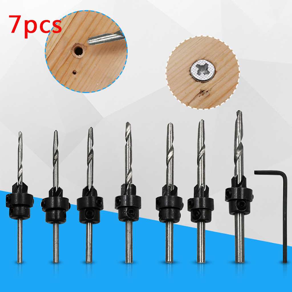 7Pcs/set Hole Screw Drills Woodworking Flute Countersink Cone Chamfers Tool Bits 7 plus small wrench plastic bags