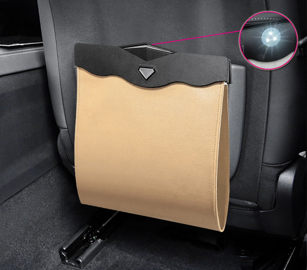 Car Garbage Can Multipurpose Hanging Car Trash Bags Waterproof Trash Can For Car Back Seat Beige with LED light
