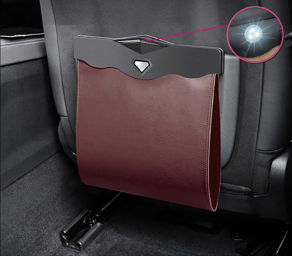 Car Garbage Can Multipurpose Hanging Car Trash Bags Waterproof Trash Can For Car Back Seat Brown with LED light