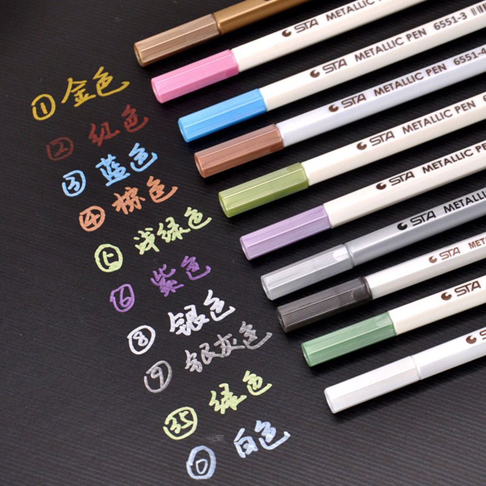 10Pcs 6551BR Metal Markers Paint Pens for Painting Mark DIY Marker Pen Art Marker for Stationery 10pcs