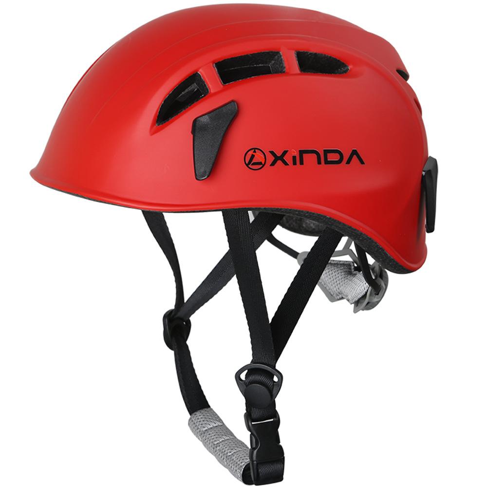 Outdoor Climbing Safety Helmet Hard Surface Hat Adjustable Helmet for Rescue Construction Climbing Work Helmet red