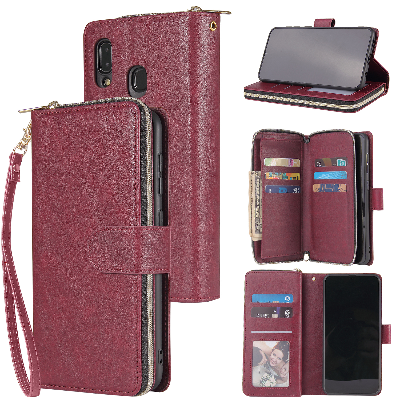 For Samsung A10/A20/A30/A50/A30S/A50S Pu Leather  Mobile Phone Cover Zipper Card Bag + Wrist Strap Red wine