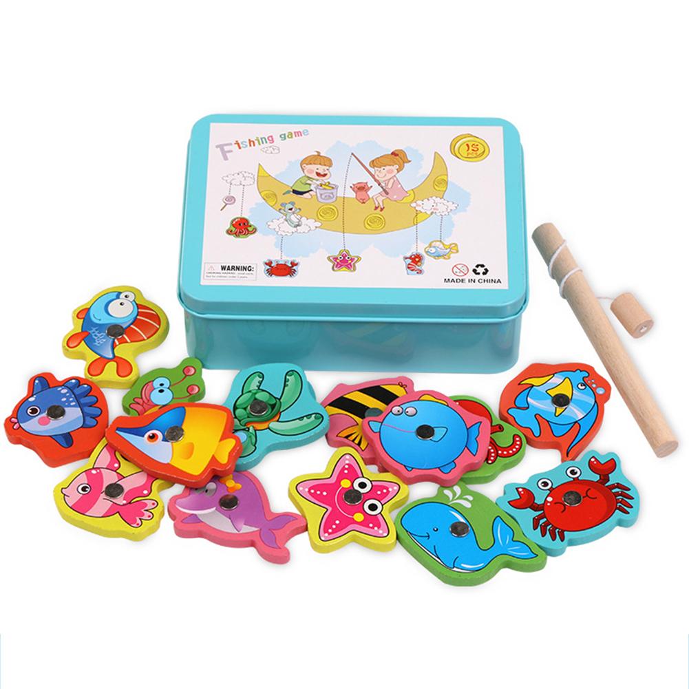 Kids Infant Wooden Magnetic Fishing Toy Parent Child Educational Blocks blue