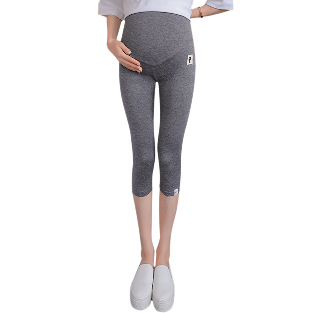 Solid Color Kitten Pattern Cropped Trousers for Pregnant Woman Support Abdomen Dark gray_L