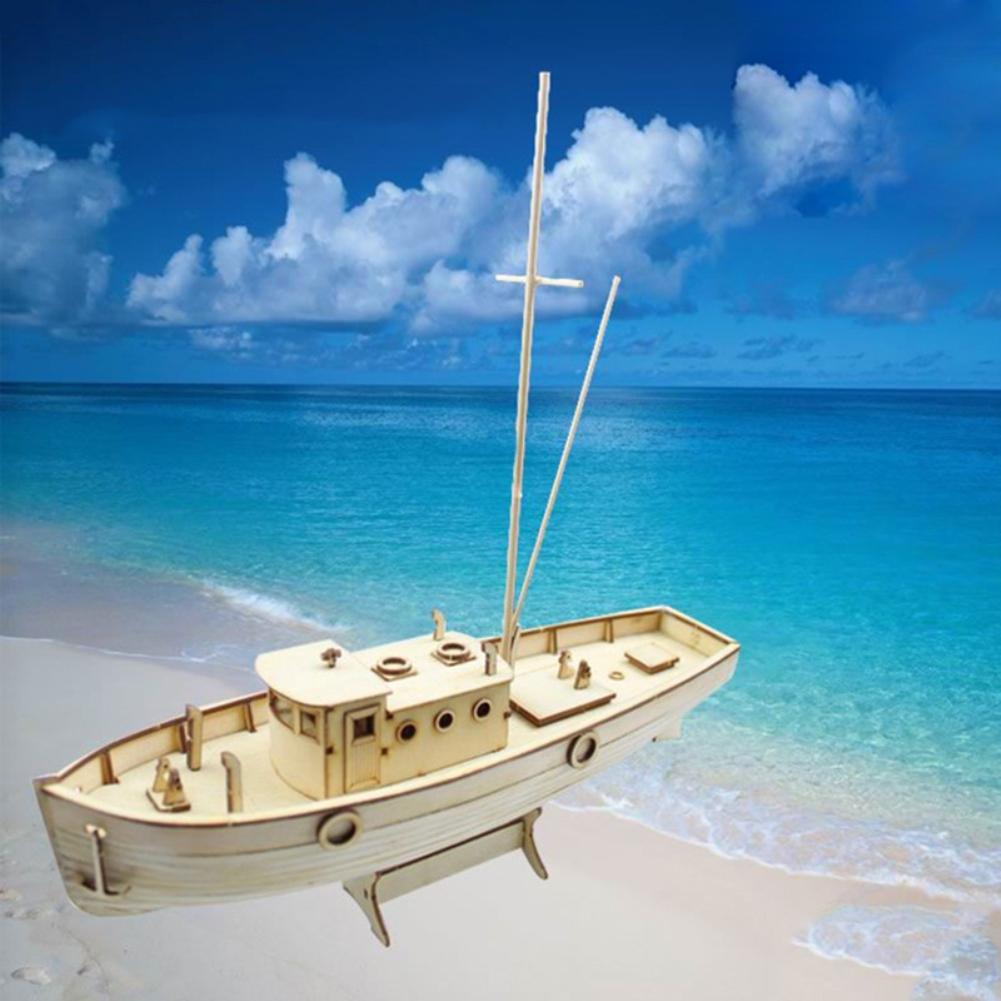 Assembled Nurkse Fishing Boat Modeling Kids DIY Puzzle Toy
