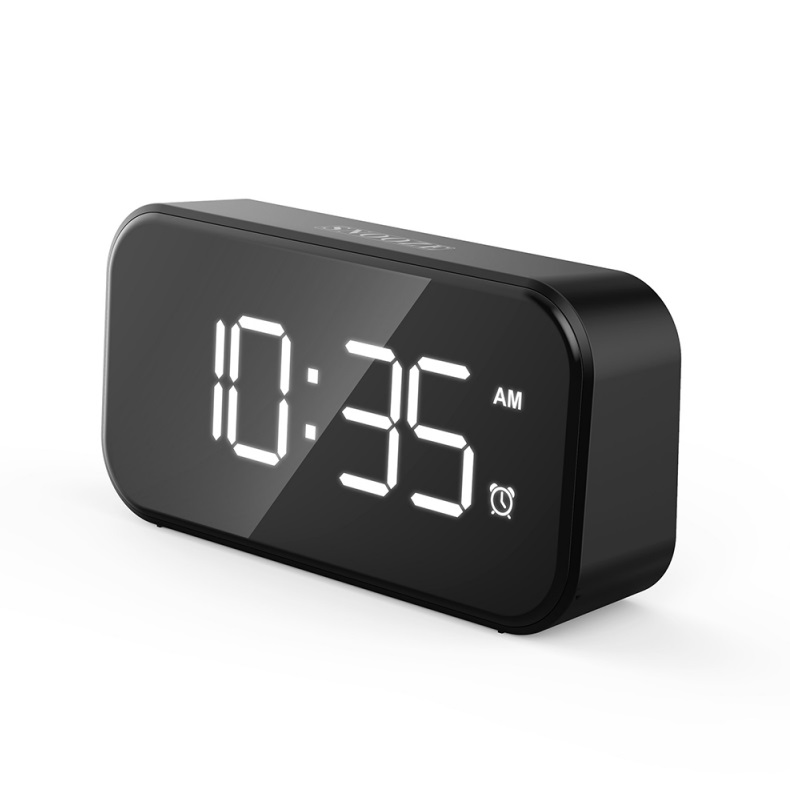 Small Digital Alarm Clock for Heavy Sleepers with 100dB Extra Loud Alarm USB Charger Alarm Clock for Bedroom  White font