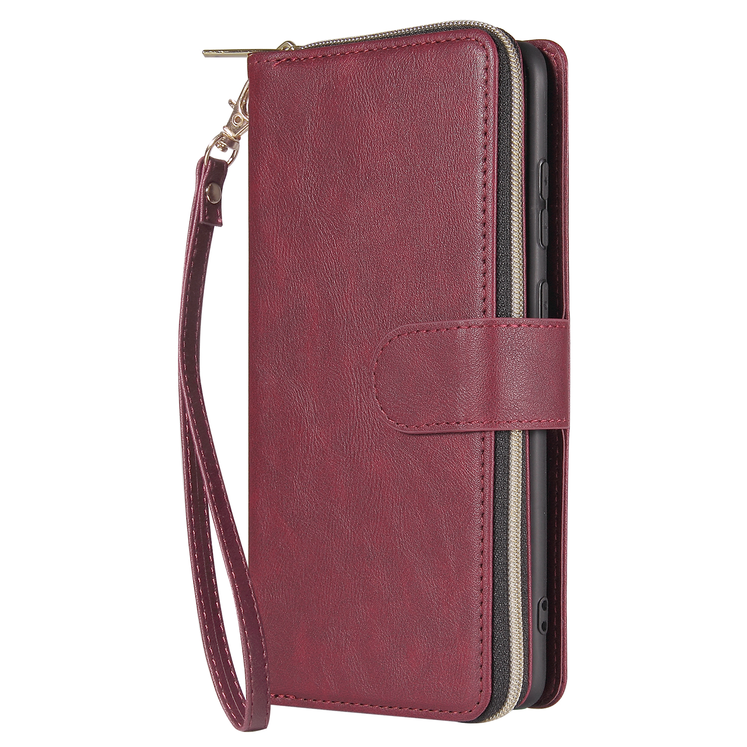 For Samsung S10/S20/S10E/ S10 Plus Pu Leather  Mobile Phone Cover Zipper Card Bag + Wrist Strap Red wine