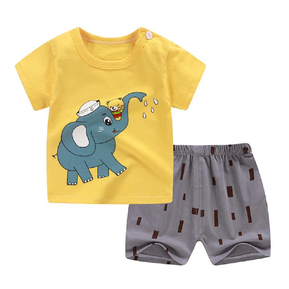 [Indonesia Direct] 2pcs/set Girls Boys Baby Cartoon Printing Short Sleeve Tops+Shorts Summer Suit Yellow elephant_80cm