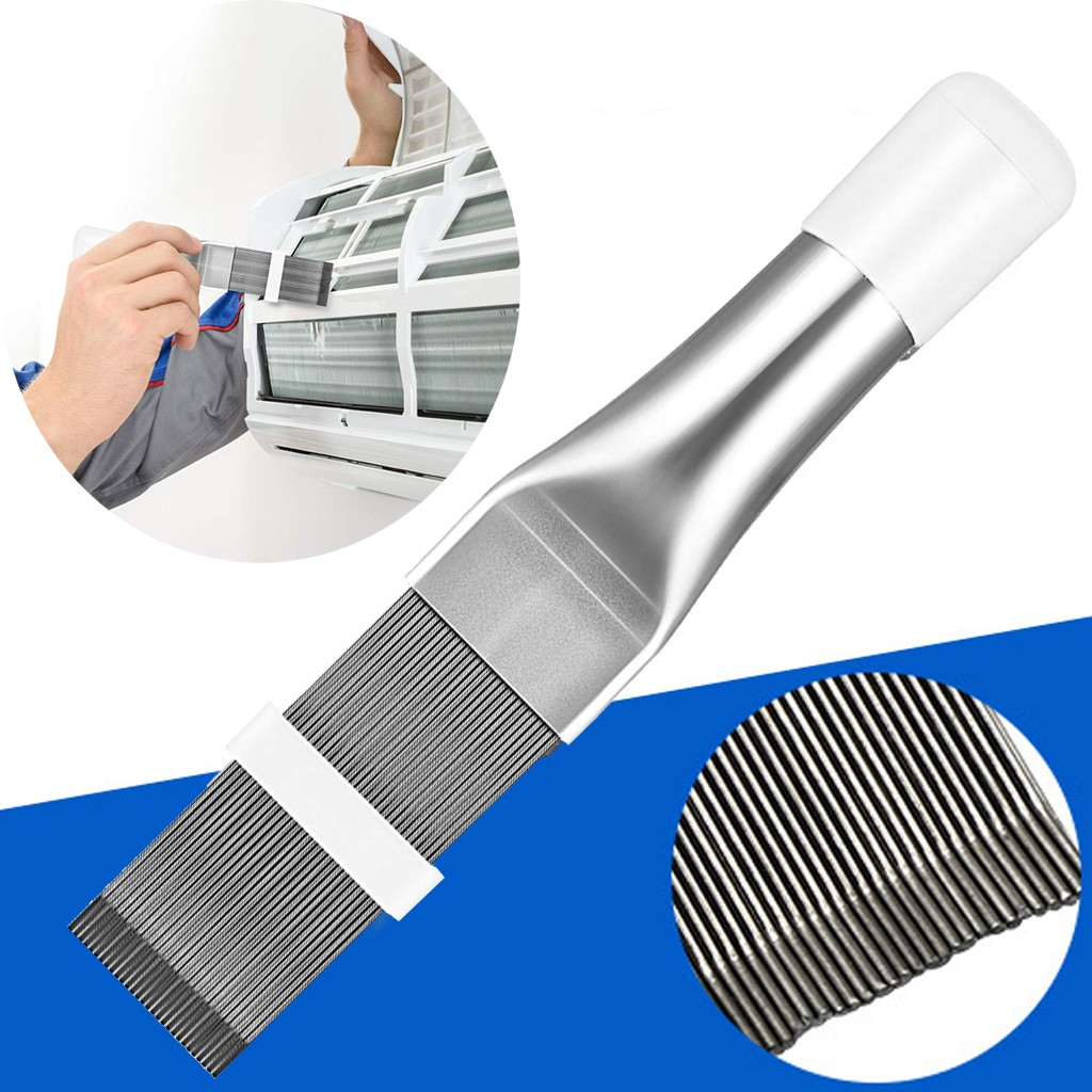 Condenser Cleaning Comb Fin Brush for Air Conditioner Blade Cooling Straightening Cleaning Tool Silver