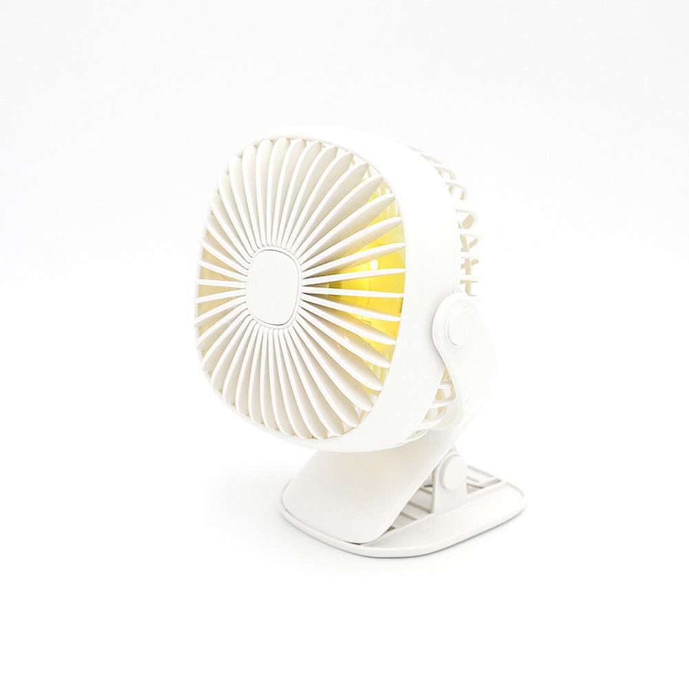 Rechargeable Night Light Clip Fan Free Rotating Mini Small Fan white