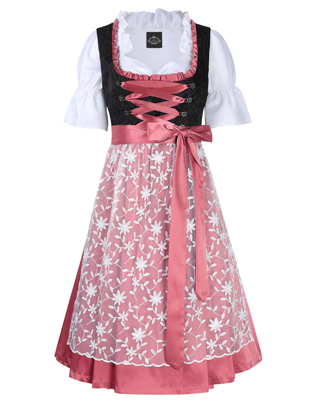 [EU Direct] 3PCS Women's Ruffle Floral Lace Beer Dress Traditional Dirndl Set for Oktoberfest Theme Party Cosplay
