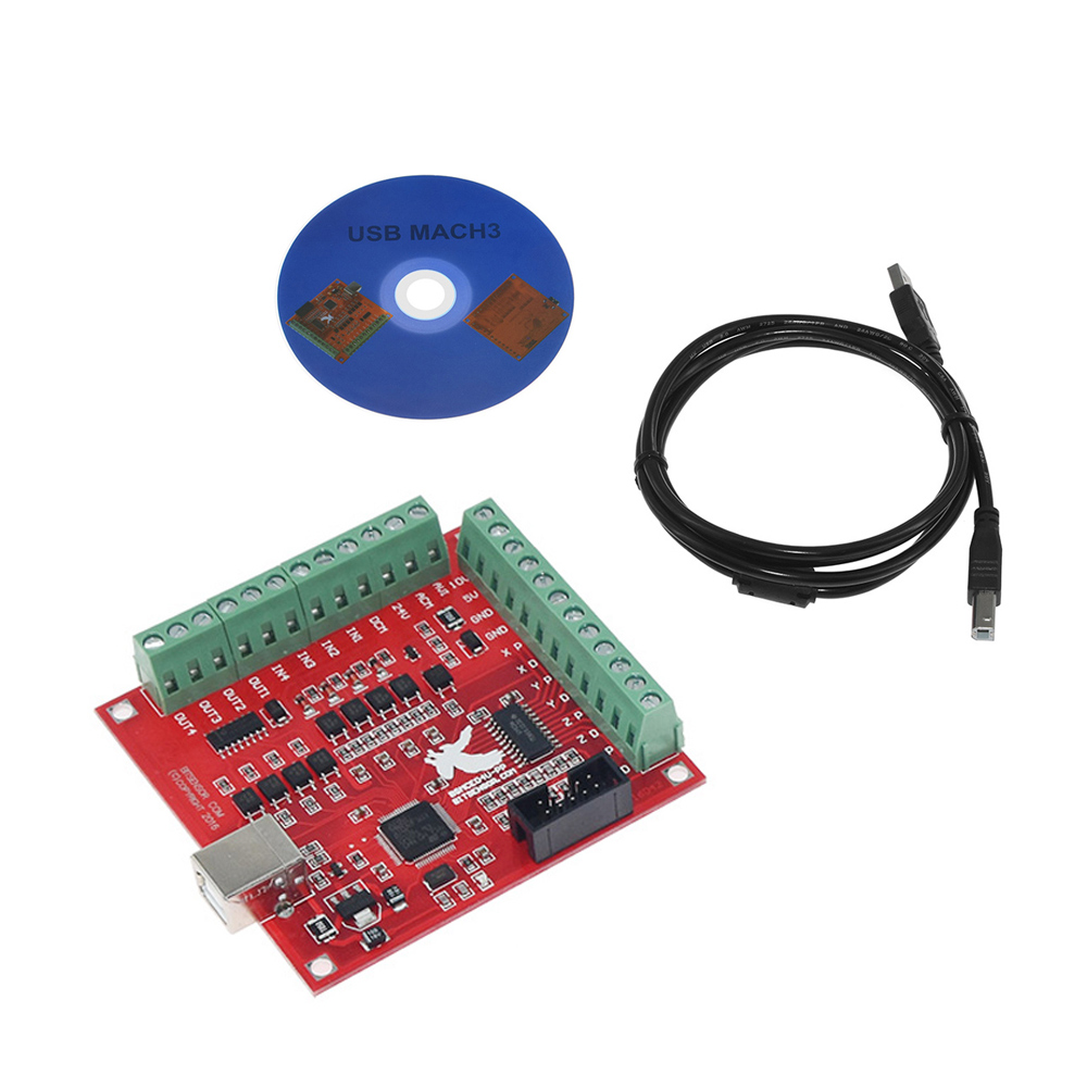 CNC USB MACH3 100Khz Breakout Board 4 Axis Interface Driver Motion Controller red