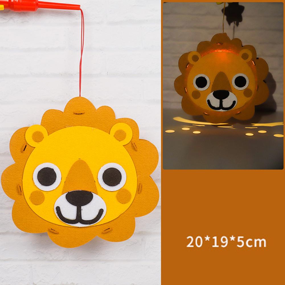 Kids  Handmade  Cartoon Luminous Lantern Diy Portable Puzzle Toy Little lion_The New