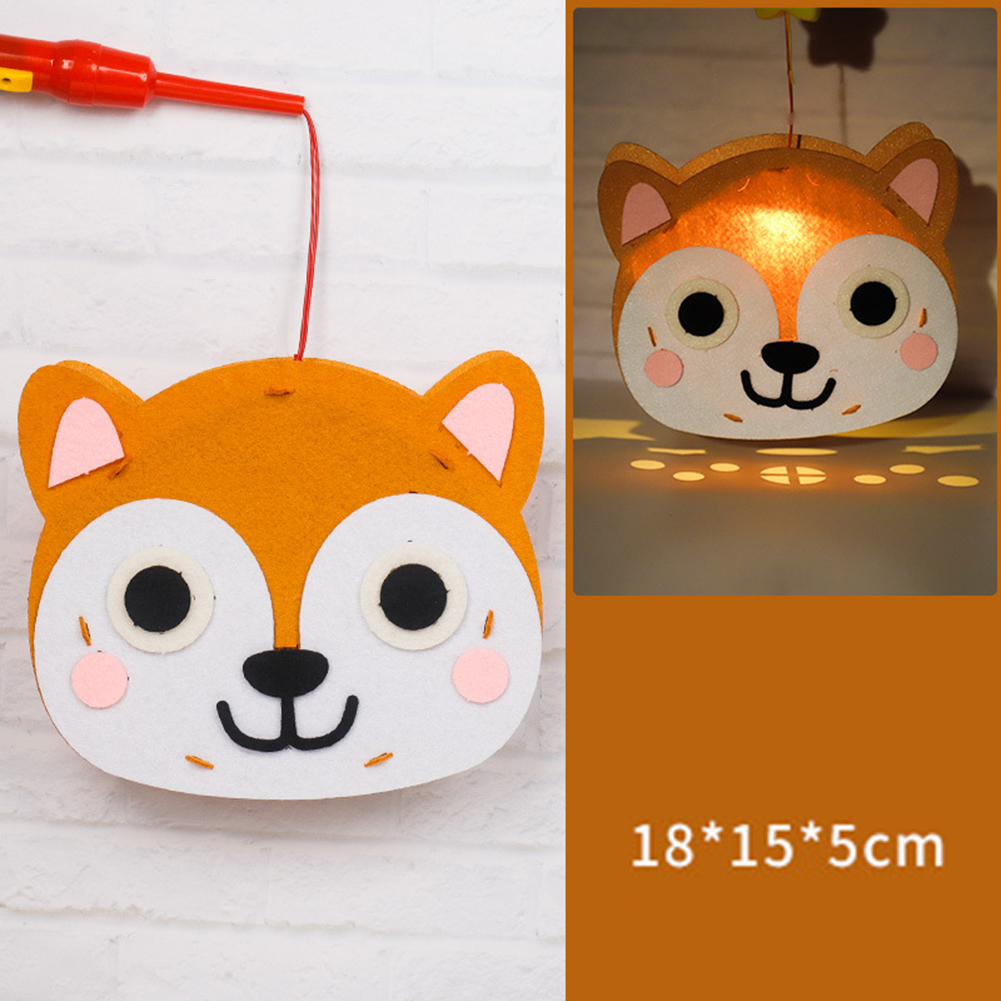Kids  Handmade  Cartoon Luminous Lantern Diy Portable Puzzle Toy Little Fox_The New