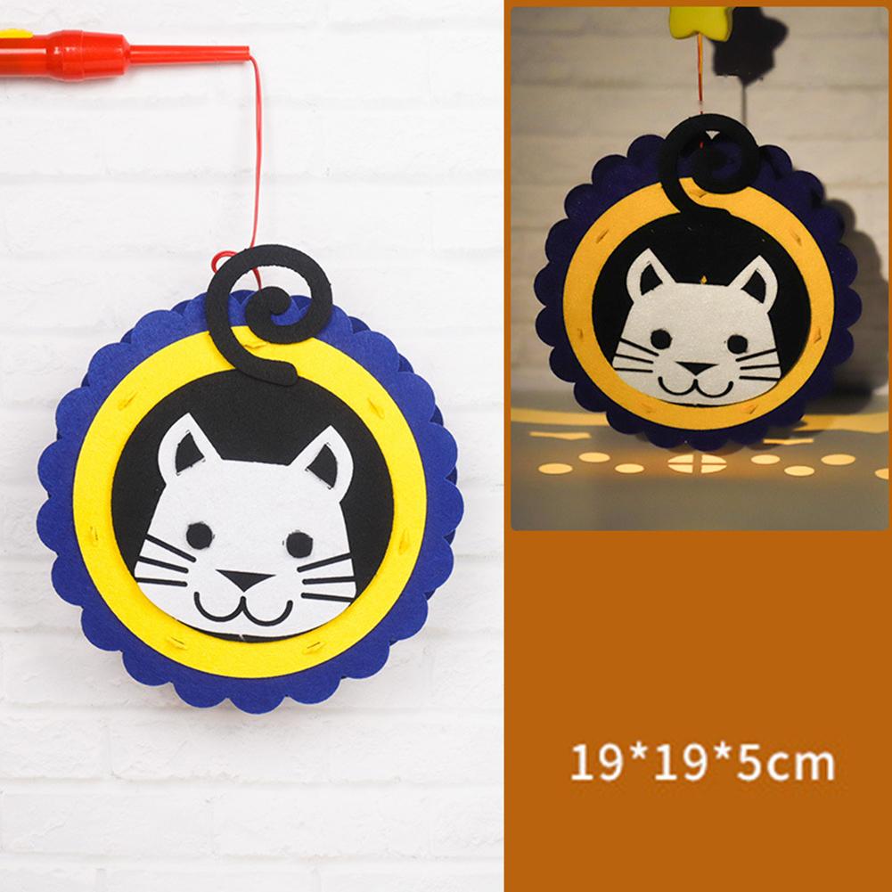 Kids  Handmade  Cartoon Luminous Lantern Diy Portable Puzzle Toy Cartoon cat_The New