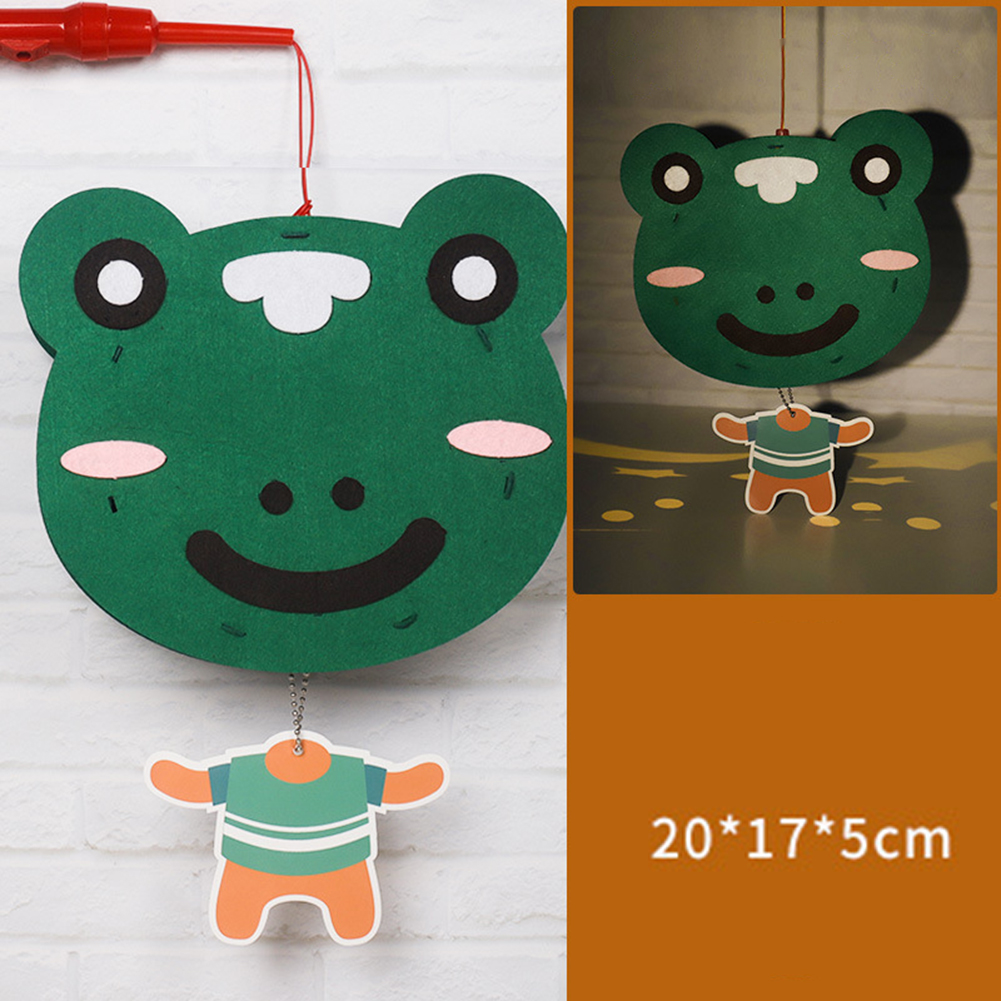 Kids  Handmade  Cartoon Luminous Lantern Diy Portable Puzzle Toy Little frog_The New