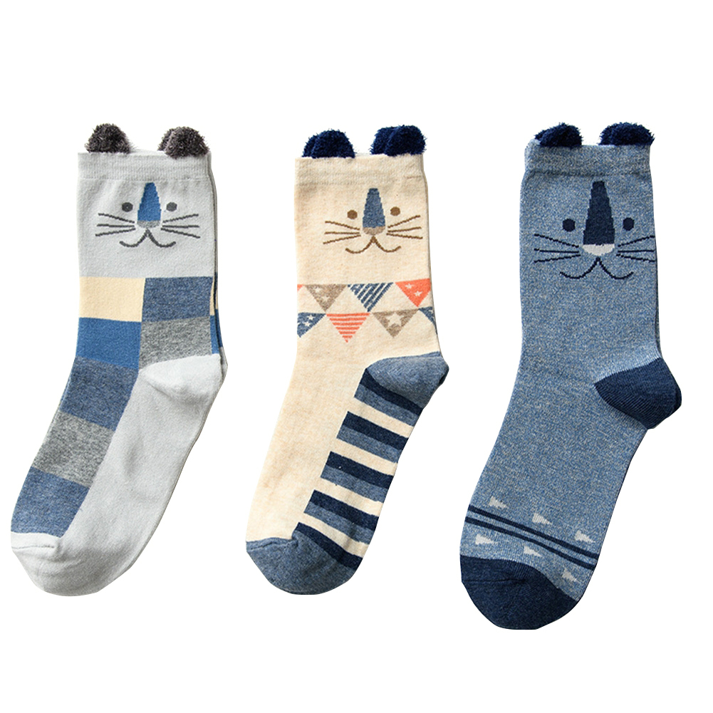 Women Fun Cartoon Animal Pattern Cotton Floor Socks Warm Crew Socks 3 Pairs