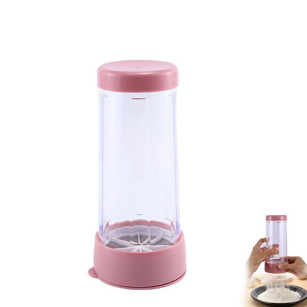 Handheld Rotating Flour  Sieve Sugar Shaker Dispenser Kitchen Accesories Pink