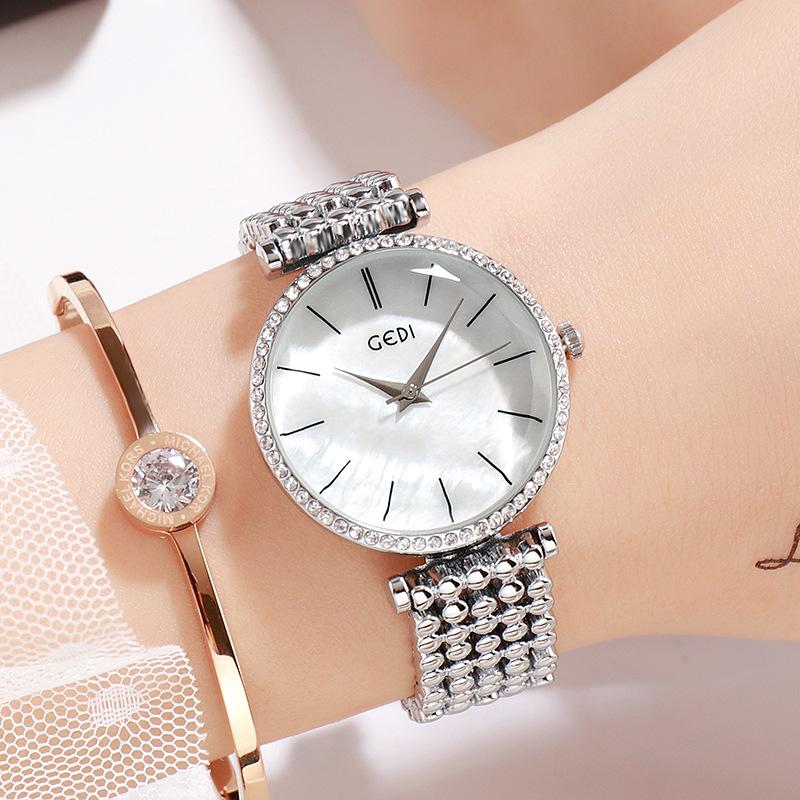 Fashion Women Waterproof Alloy Band Temperament Clock Bracelet Wrist Watch  Silver shell white plate