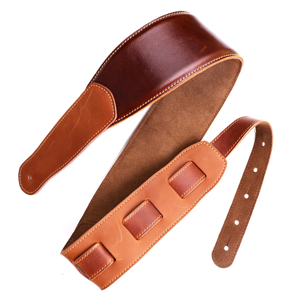 Leather Guitar Strap Red-Brown Universal Belt for Bass Electric Guitar Folk Guitar Music Instrument Accessories Red-brown