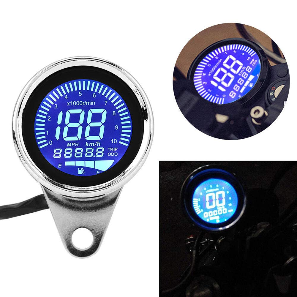 Universal Motorcycle Speedometer Retro LCD Digital Odometer Cafe Racer Tachometer indicator Scooter ATV Meter for Most Popular 12V Motorbike Odometer plating
