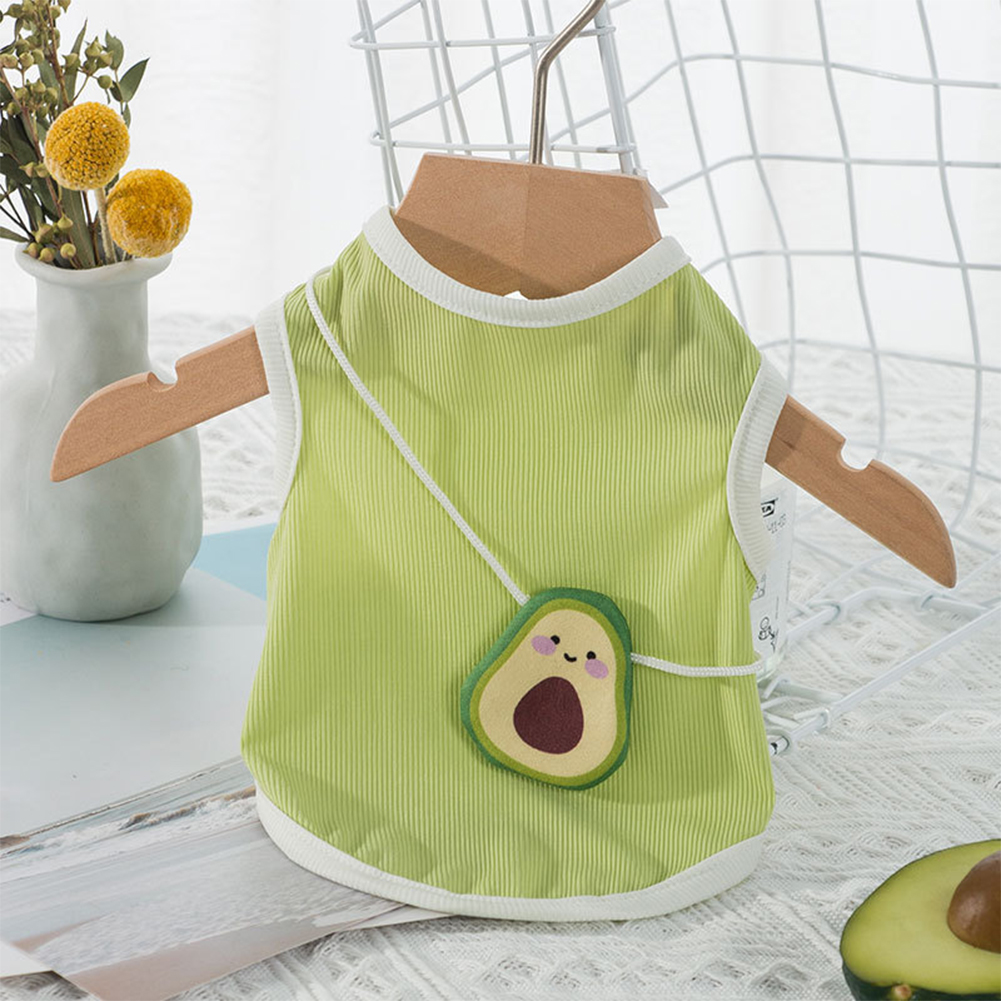 Breathable Slim Pet  Vest With Avocado Shape Cross Body Bag For Cat Dog Pet Supplies Green Avocado Satchel_XS (recommended weight 0.5-1.5 kg)