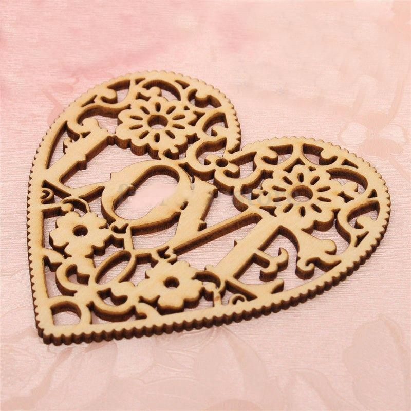 DIY Ornaments Love Pattern Hollow Wood Chips Decoration 10pcs