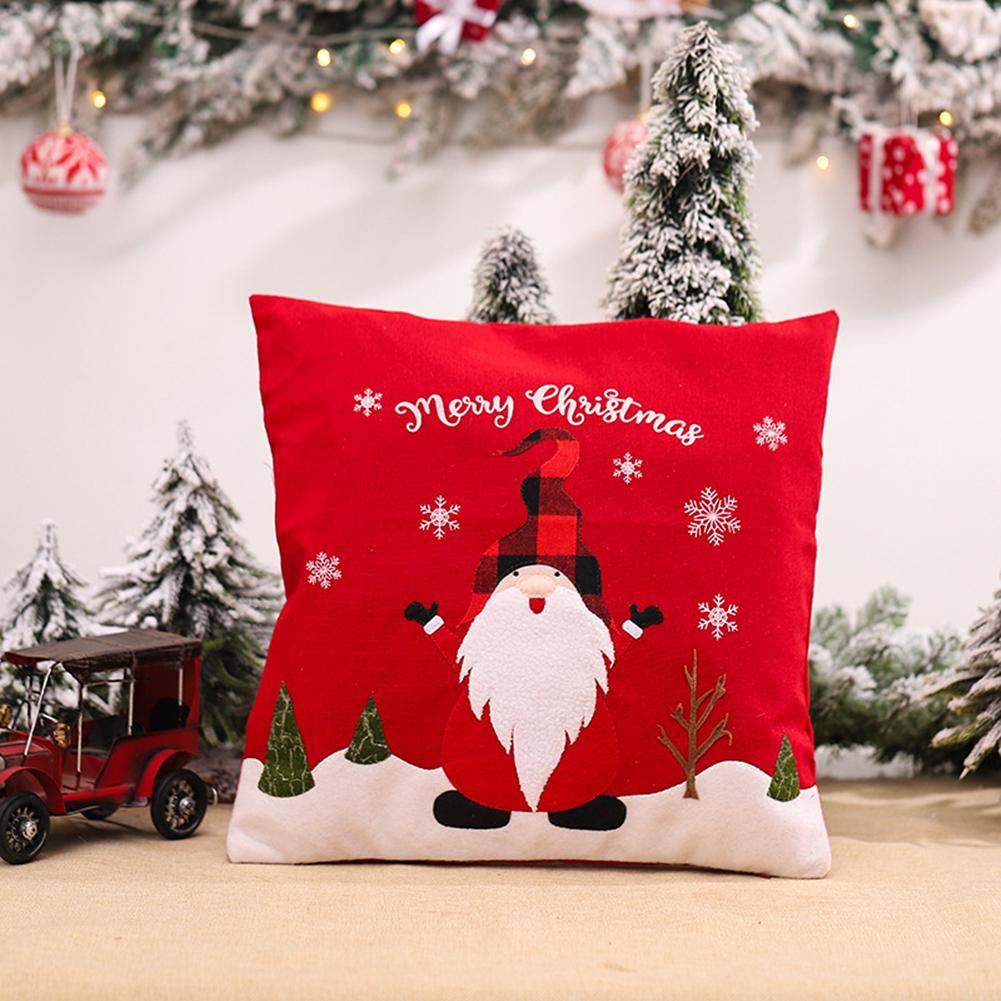 Pillow Cover Pillowcase Cushion Christmas Decorations Linen Printed Pillowcases For Living Room Sofa S9006 red Santa Claus pillowcase