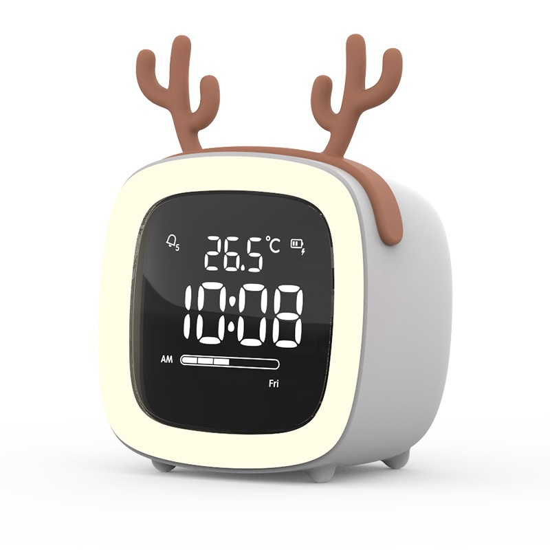 Kids Alarm Clock Cute Tv Night Light Alarm Clock For Children Desk Clock Rechargeable Battery Operated Grey antlers