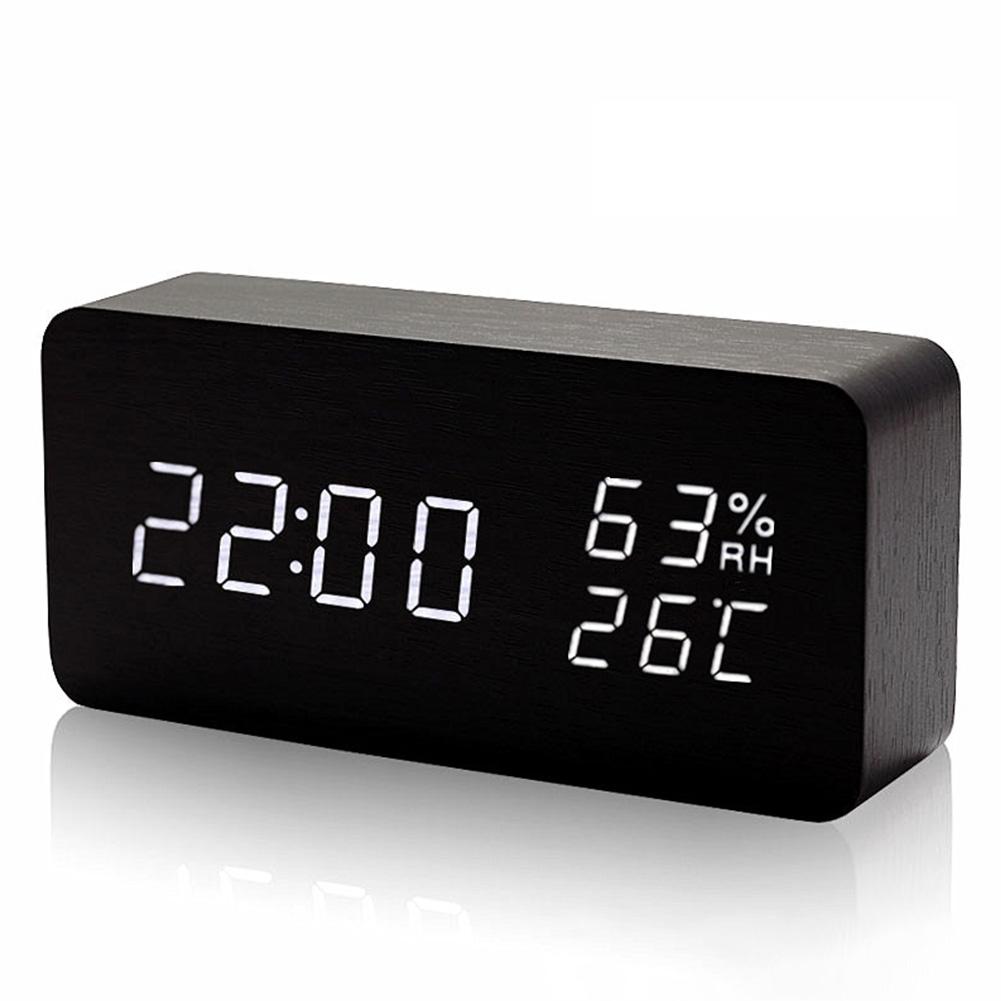 Rectangle Wooden Led Mini Alarm Clock Sound Control Digital Clock Calendar Thermometer black