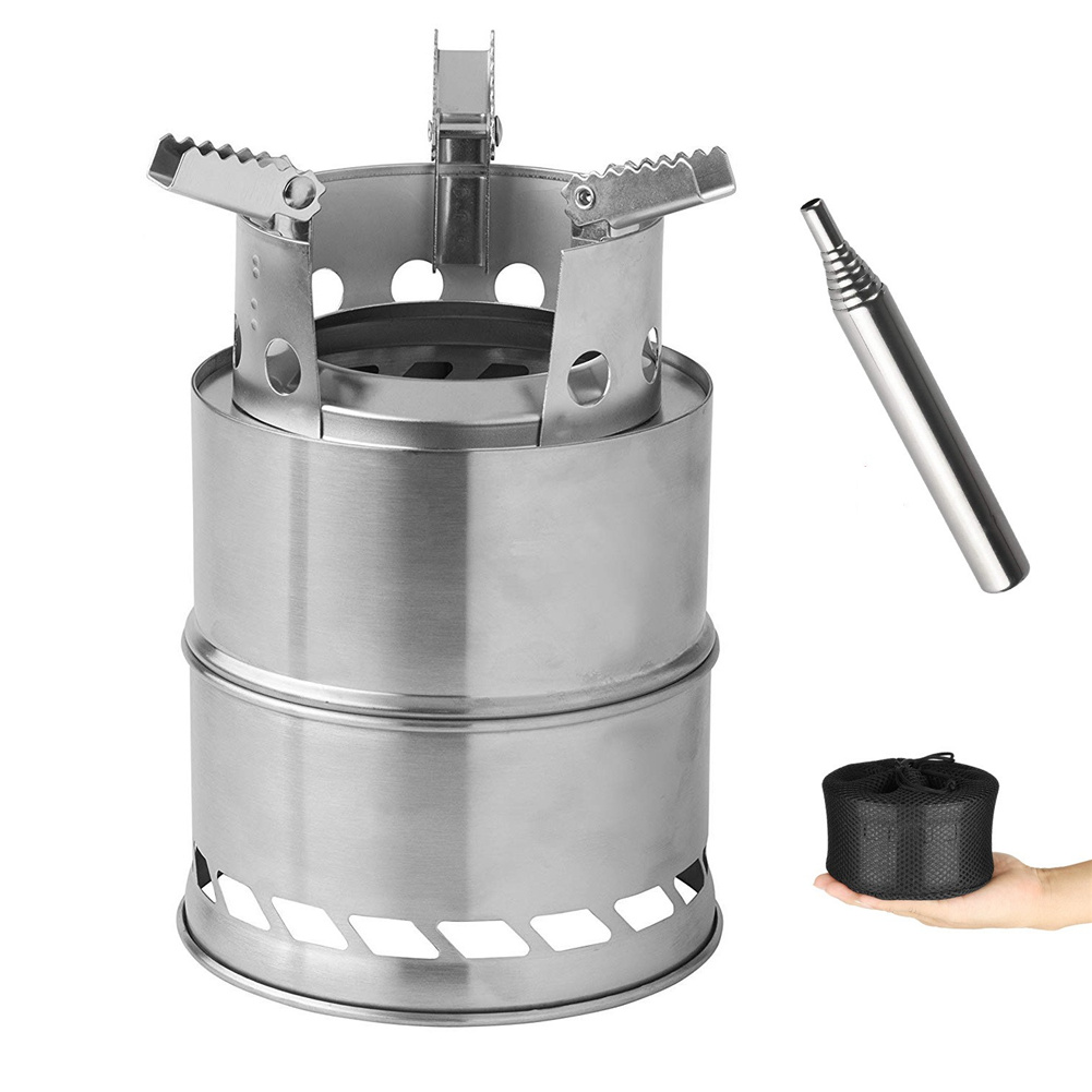 Folding Firewood  Stove Stainless Steel Portable Camping Furnace With Blower For Outdoor Picnic as picture show