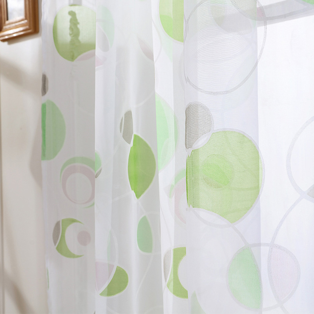 Modern Printing Tulle Window Curtain Drape Provide Interior Privacy for Home Bedroom Living Room Green circle paper print_1 * 2 meters high