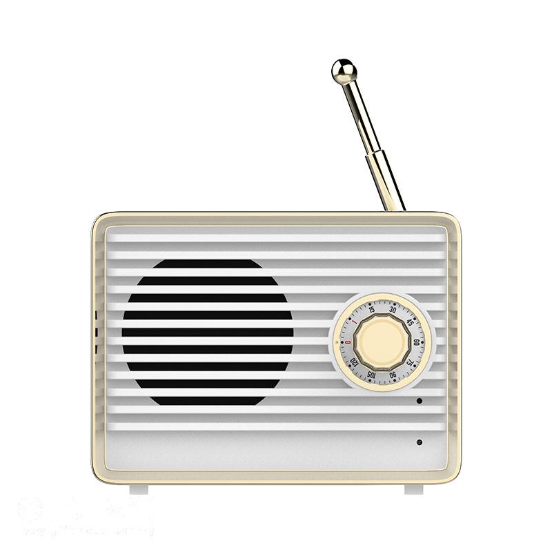Retro Mini Bluetooth Radio Wireless Retro Speakers for Kitchen Bedrooms Desk Shelf Party    white