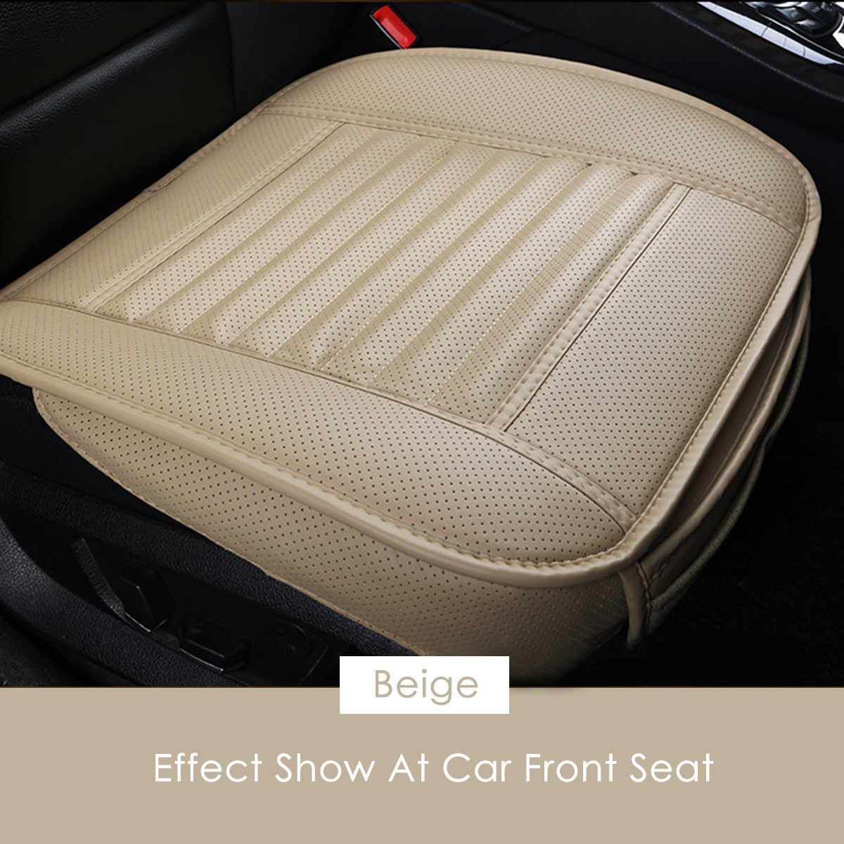 Car Front Seat Cover PU Non-slip Car Seat Cushion Cover for Four Seasons beige