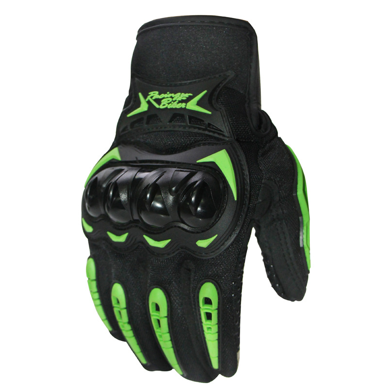 Warm Waterproof Motorcycle Gloves Outdoor Sports Windproof Cycling Gloves Touch screen green (with plush)_L