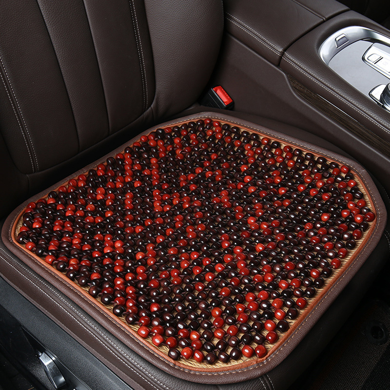 Breathable Cushion for Car Seat with Natural Maple Wood Beads red